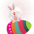Star background with buny sit on egg — Stock Vector