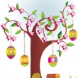 Royalty-Free Stock Imagen vectorial: Garden background with decorated tree