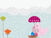 Rainy day background illustration — Stock Vector