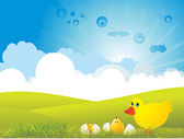 Background with duckling, broken egg — Stock Vector