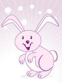 Lindo conejo con fondo púrpura — Vector de stock