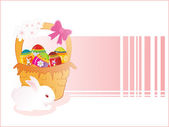 Rabbit with decorated egg basket — Stock Vector