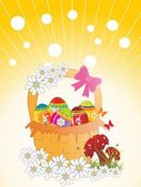 Decorated egg basket, bloom — Stock Vector