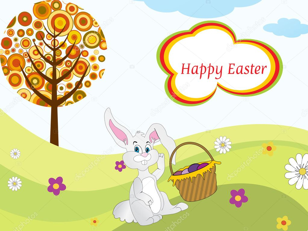 easter bunny clipart free. Easter bunny sit in garden
