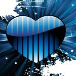 Шероховатый лучи abckground с синего сердца — Cтоковый вектор