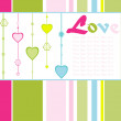 Hanging colorful love background — Stock Vector