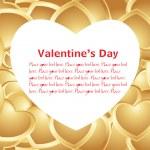 Golden heart-shape love banner — Stock Vector