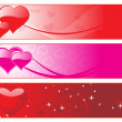 Three diffrent colors heart-shape banner — Stock Vector