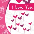 Love card with funky design - Stock Vector
