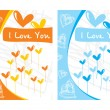 Stock vektor: Two balloons design love card