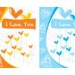 dwa balony projekt karty miłości — Wektor stockowy