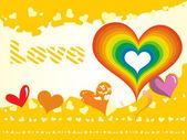Cartão amarelo amor — Vetor de Stock