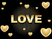 Black background with love — Stock Vector