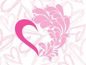 素敵なピンクのハートのベクトル — ストックベクタ