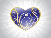 Tarjeta de san valentín con swirl diseño — Vector de stock