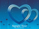 Blue background with heart illustration — Vector de stock