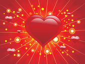 Abstract heart with red background — Stock Vector