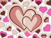 Resumen par de dos corazones hermosos — Vector de stock