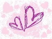 Krásný pár dvou tvaru srdce — Stock vektor