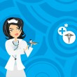 Blue circle background with nurse — Vektorgrafik