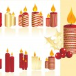 Set of christmas candle — Imagen vectorial
