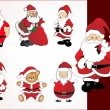 Collection of santa in different pose — Stock Vector