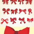Stock Vector: Collection of red bows