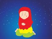 Mujer musulmana llamada alá durante namaz — Vector de stock