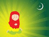 Donna musulmana corano redding — Vettoriale Stock
