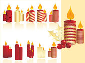 Set of christmas candle — Stock Vector