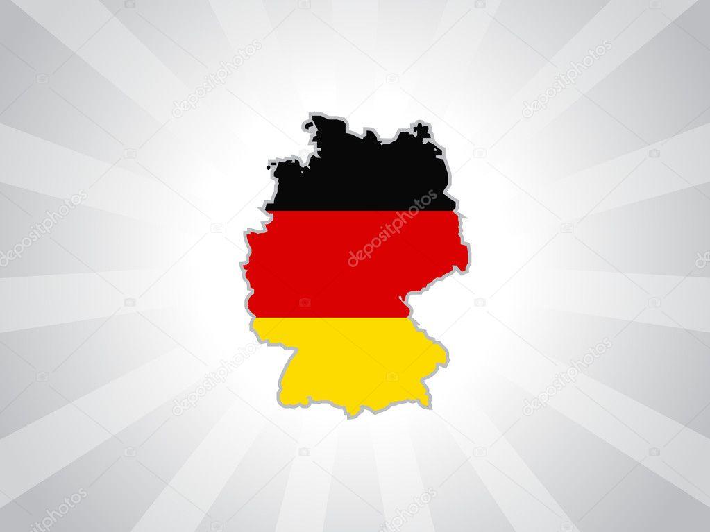 灰色射线背景与孤立德国地图