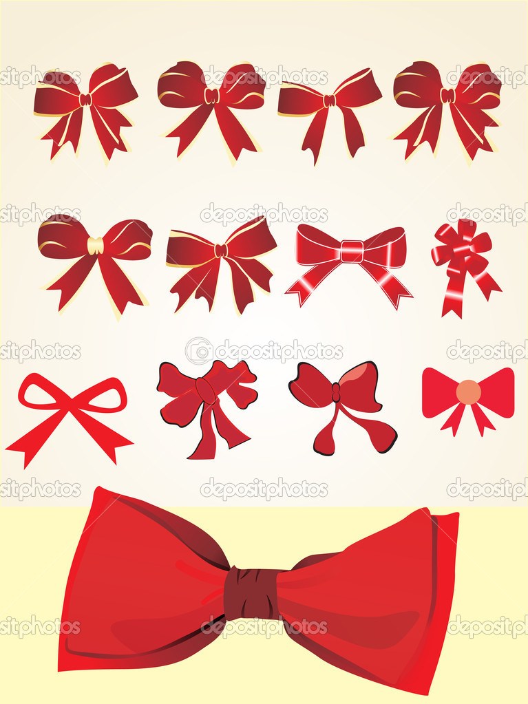 Collection of red bows, vector illustration — Stock Vector #2933329