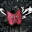 Dirty grunge background with butterfly - Stock Vector