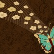 Texture background with butterfly — Imagen vectorial