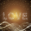 Abstract wave background with love — Image vectorielle