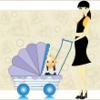 Heart background, baby in a pram — Stock Vector