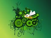 Grungy artwork, honeybee — Stock Vector