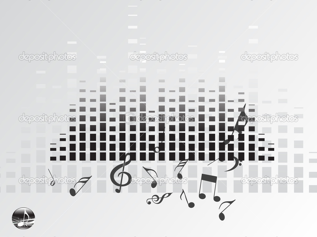 Music graph on gray background, vector illustration   Stock Vector #2989873