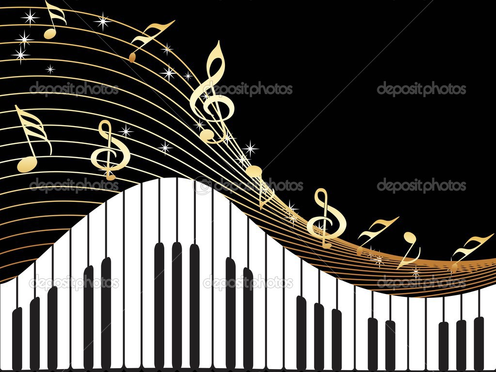 Black background with musical instument and notes illustration — Stock Vector #2990309