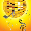 Musical note, disco ball — Stock Photo