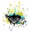 Colorful grunge with musical instrument — Stock Vector