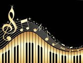Music notes with piano — Vettoriale Stock