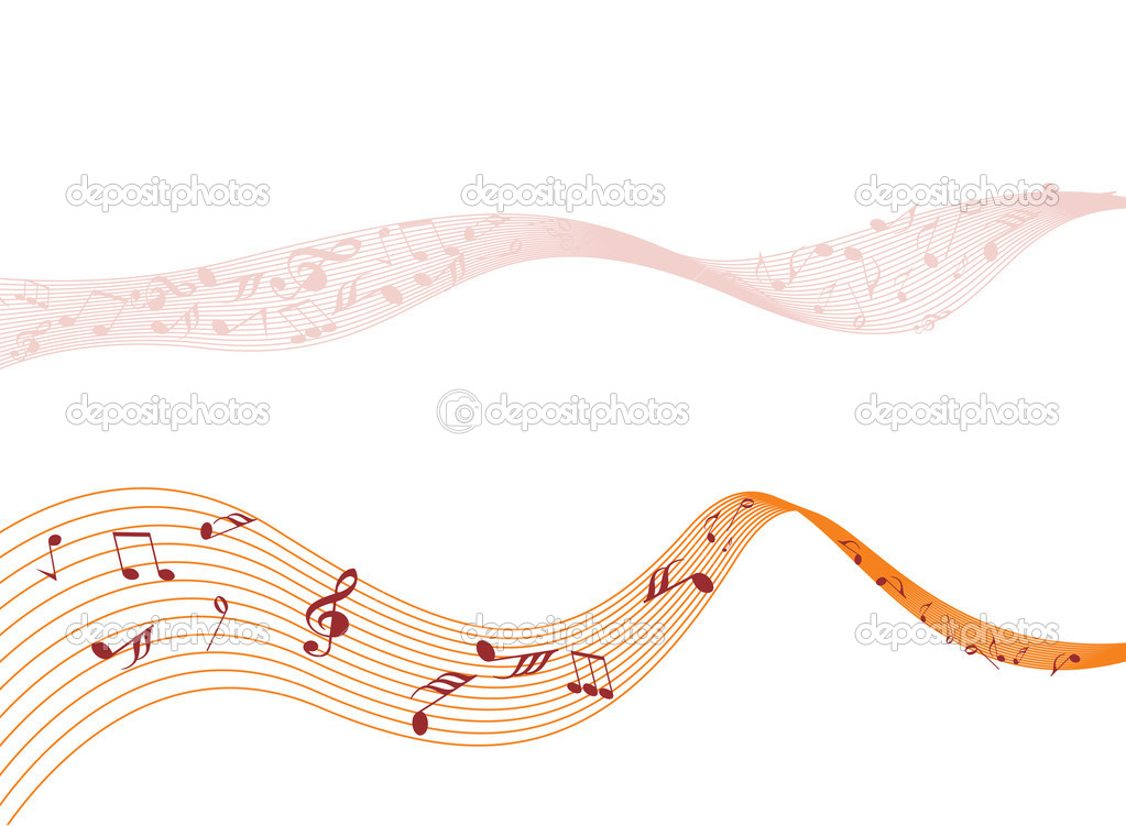 Abstract background with musical notes wave — Stock Vector #3001804