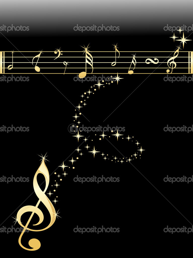 Shiny golden musical notes with black background — Stock Vector #3001919
