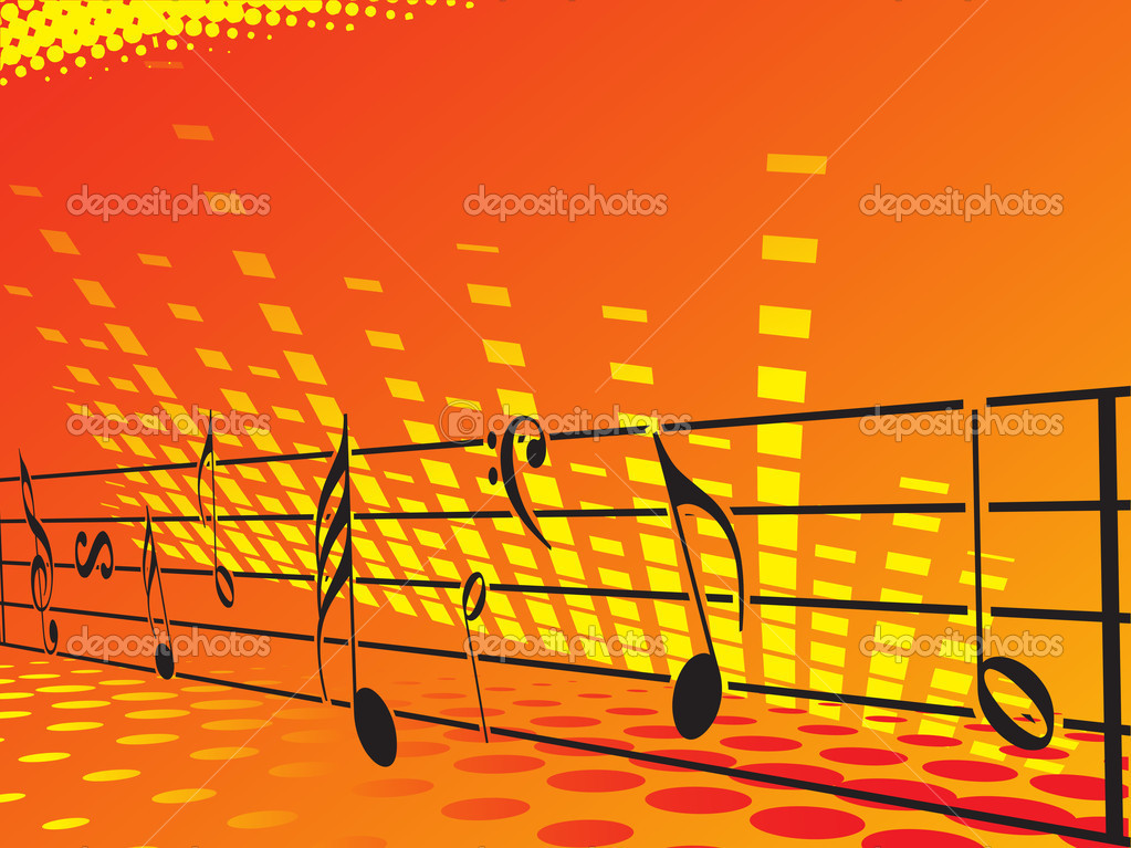 Music background with different notes, orange banner — Stock Vector #3001957