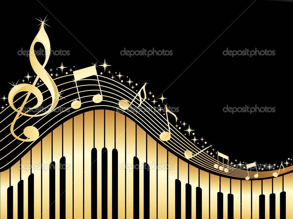 Black background with music notes and piano — Векторная иллюстрация #3002101
