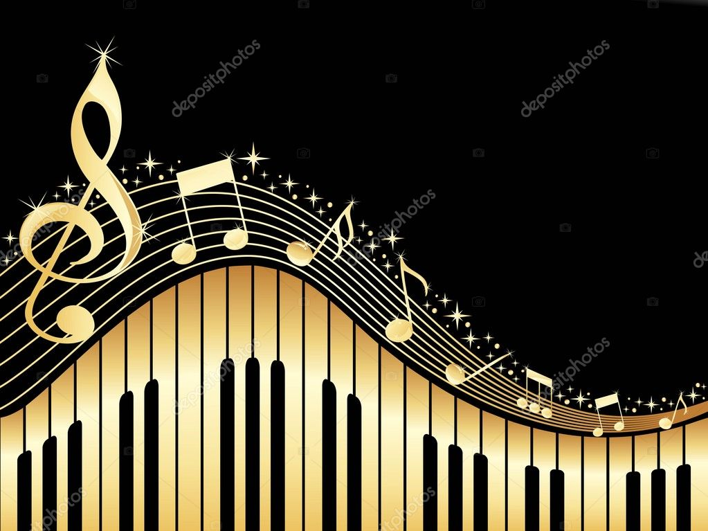 Black background with music notes and piano — ベクター素材ストック #3002101