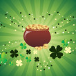 Magic pot with shamrock floral — Stock Vector
