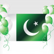 Pakistan national flag with balloons — Stock Vector