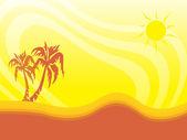 Palmiye ağacı güneşli yaz zemin üzerine — Stok Vektör